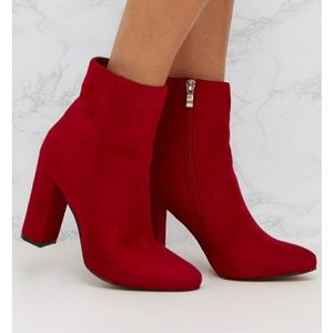 Red Faux Suede Booties
